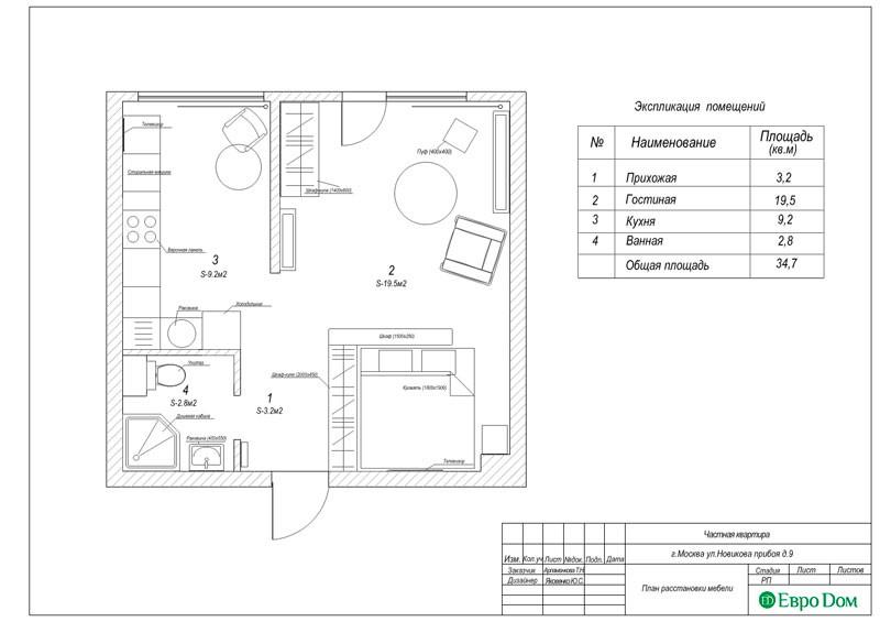 Дизайн-проект ремонта однокомнатной квартиры 35 кв. м в современном стиле. План расстановки мебели
