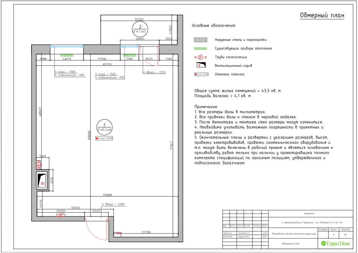 Дизайн-проект ремонта однокомнатной квартиры 44 кв. м в стиле неоклассика. Обмерный план