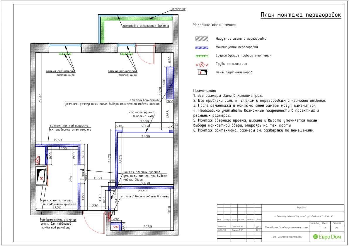 Дизайн-проект ремонта однокомнатной квартиры 44 кв. м в стиле неоклассика. Монтажный план