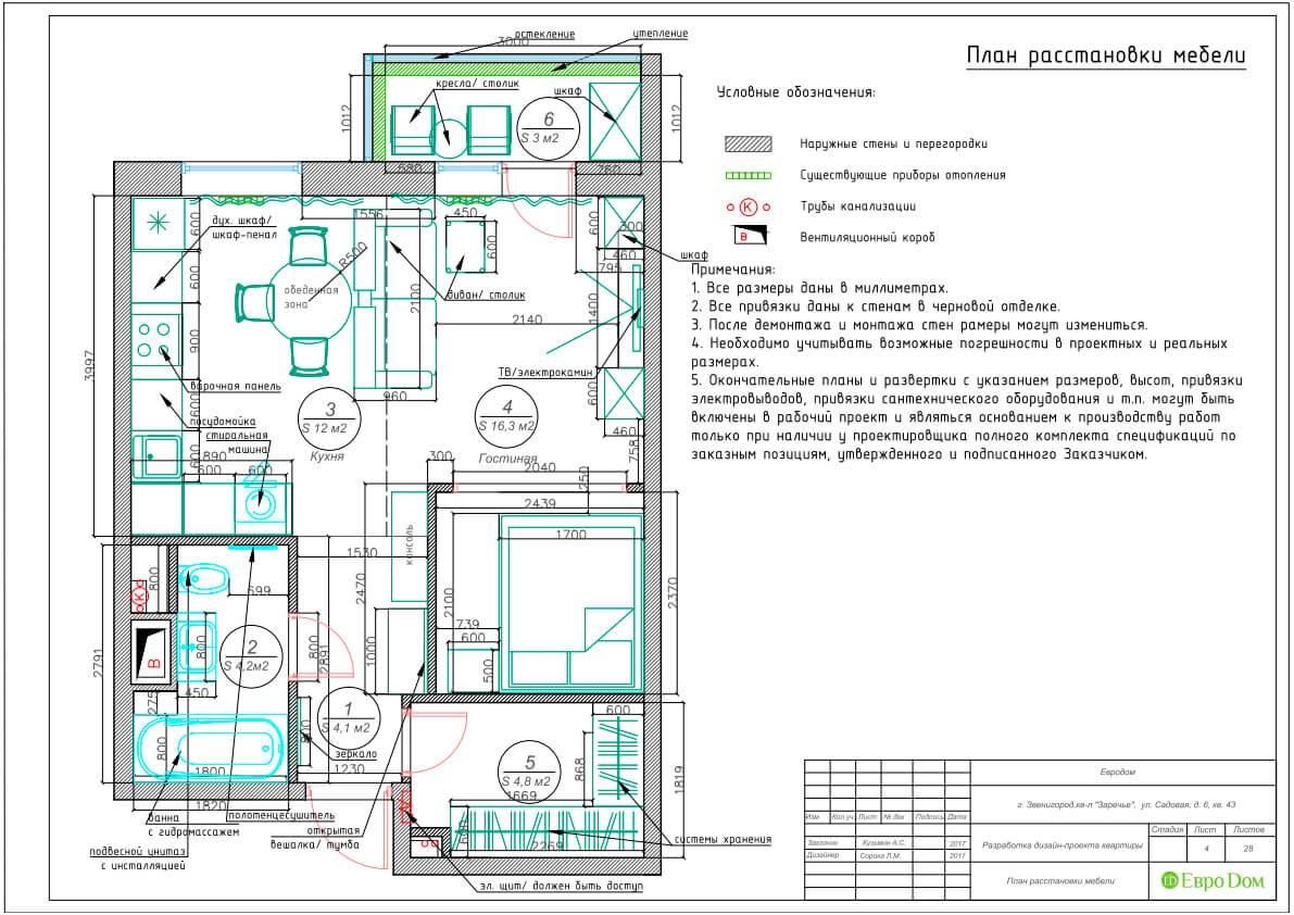 Дизайн-проект ремонта однокомнатной квартиры 44 кв. м в стиле неоклассика. План расстановки мебели