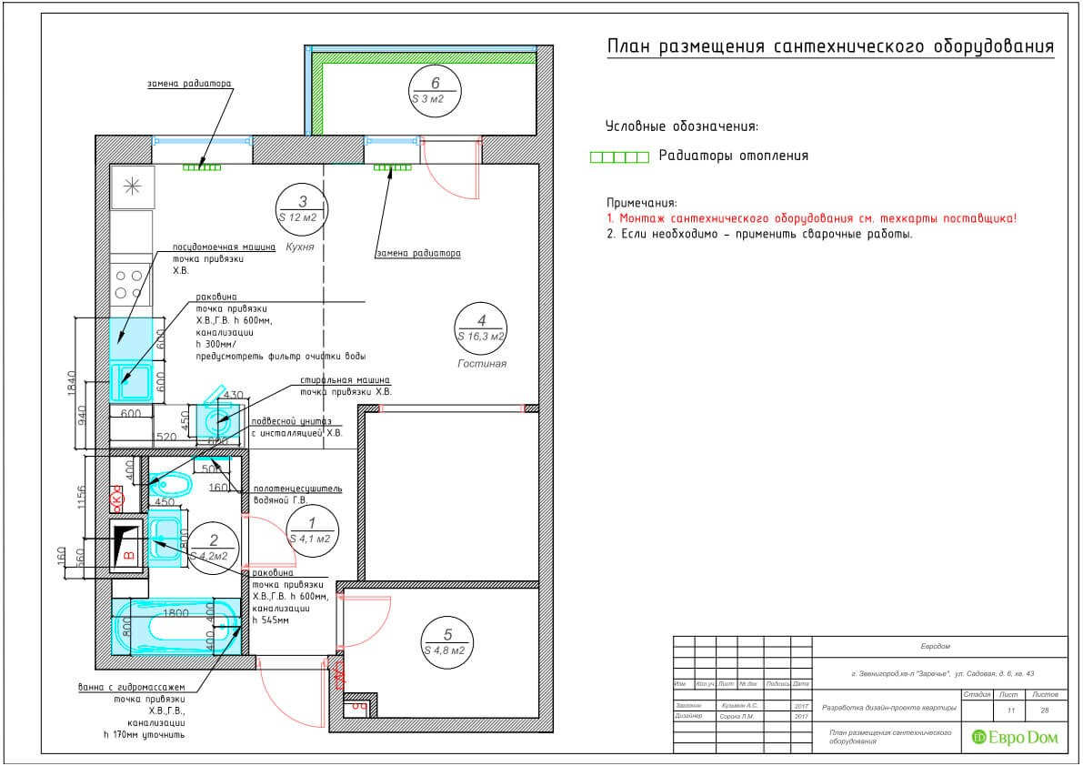 Дизайн-проект ремонта однокомнатной квартиры 44 кв. м в стиле неоклассика. План размещения сантехнического оборудования
