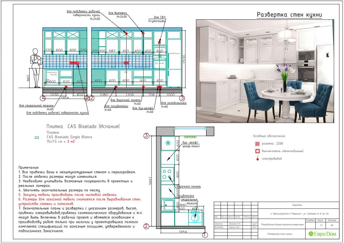 Дизайн-проект ремонта однокомнатной квартиры 44 кв. м в стиле неоклассика. Разверстка стен кухни