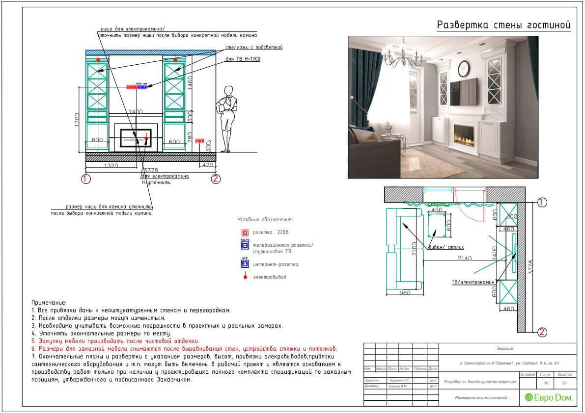 Дизайн-проект ремонта однокомнатной квартиры 44 кв. м в стиле неоклассика. Разверстка стен гостиной