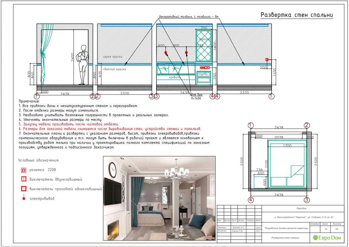 Дизайн-проект ремонта однокомнатной квартиры 44 кв. м в стиле неоклассика. Разверстка стен спальни
