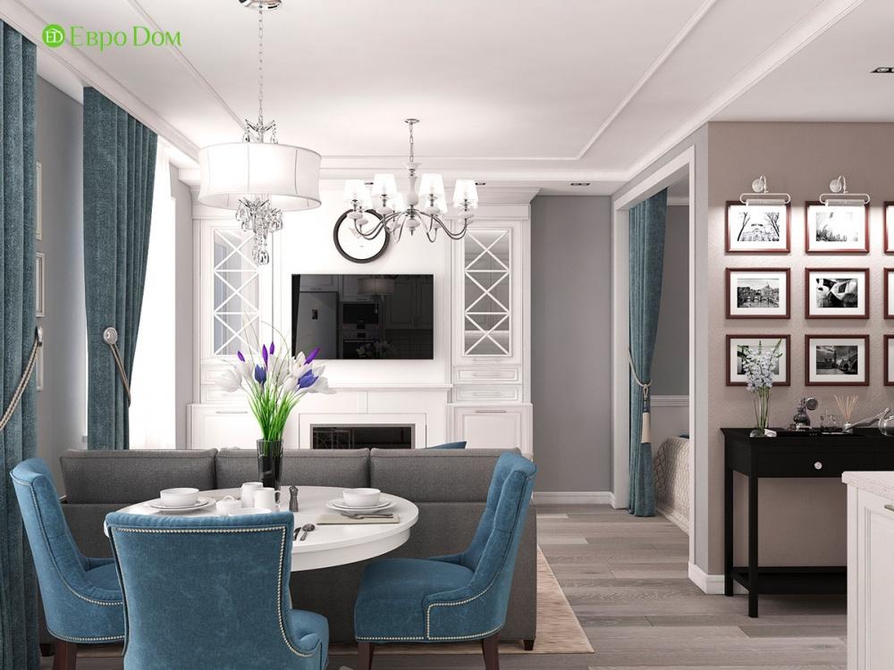 Дизайн однокомнатной квартиры 44,4 кв. м. Вид на гостиную из кухни