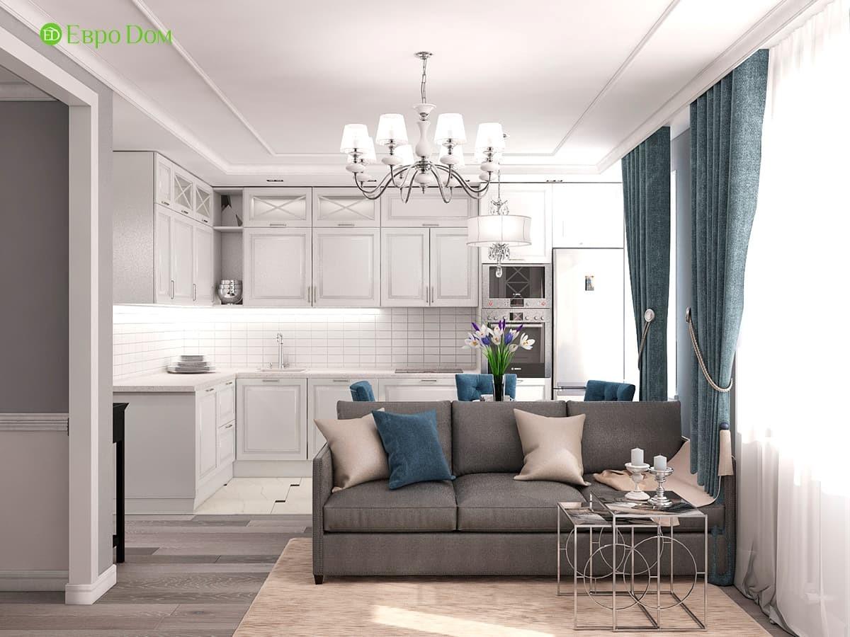 Дизайн однокомнатной квартиры 44,4 кв. м в стиле современная классика