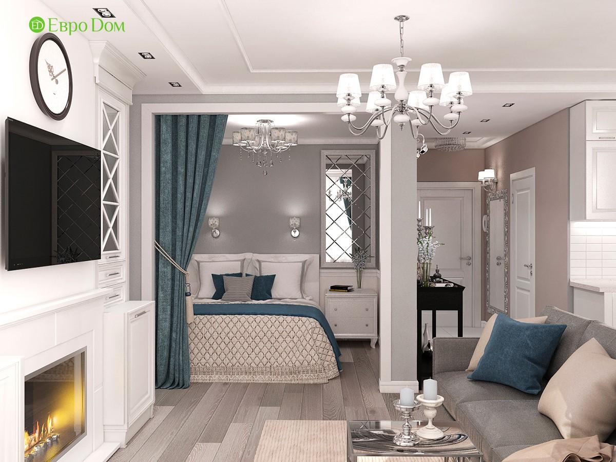 Дизайн 1-комнатной квартиры 44,4 кв. м. Вид на прихожую и спальню