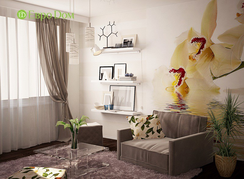 Дизайн гостиной однокомнатной квартиры 34,7 кв. м