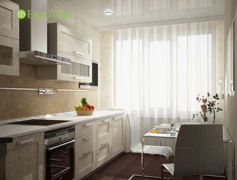 Дизайн бежевой кухни в 1-комнатной квартире