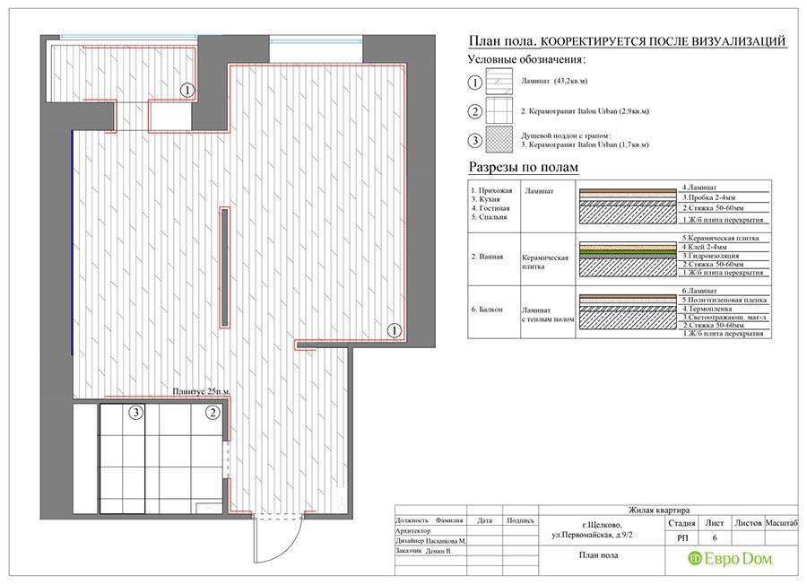 План пола в современной 1-комнатной квартире