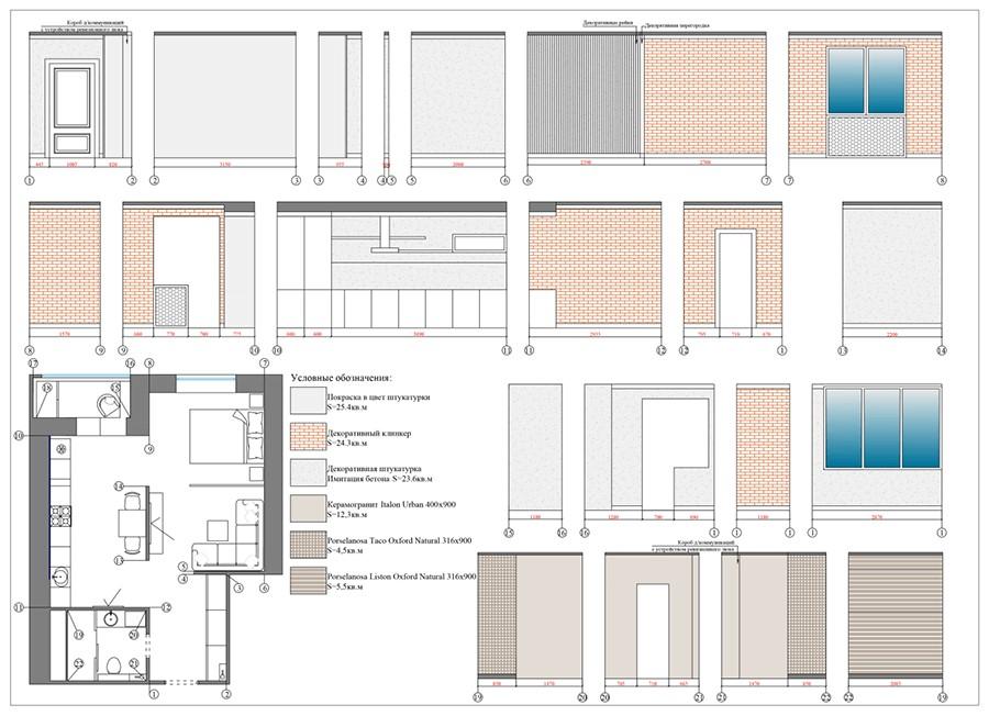 План развёртки стен современной однокомнатной квартиры