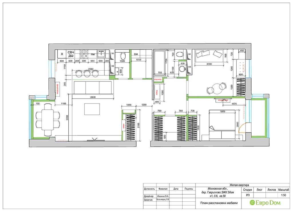 Планировка 3-комнатной квартиры площадью 86 кв. м