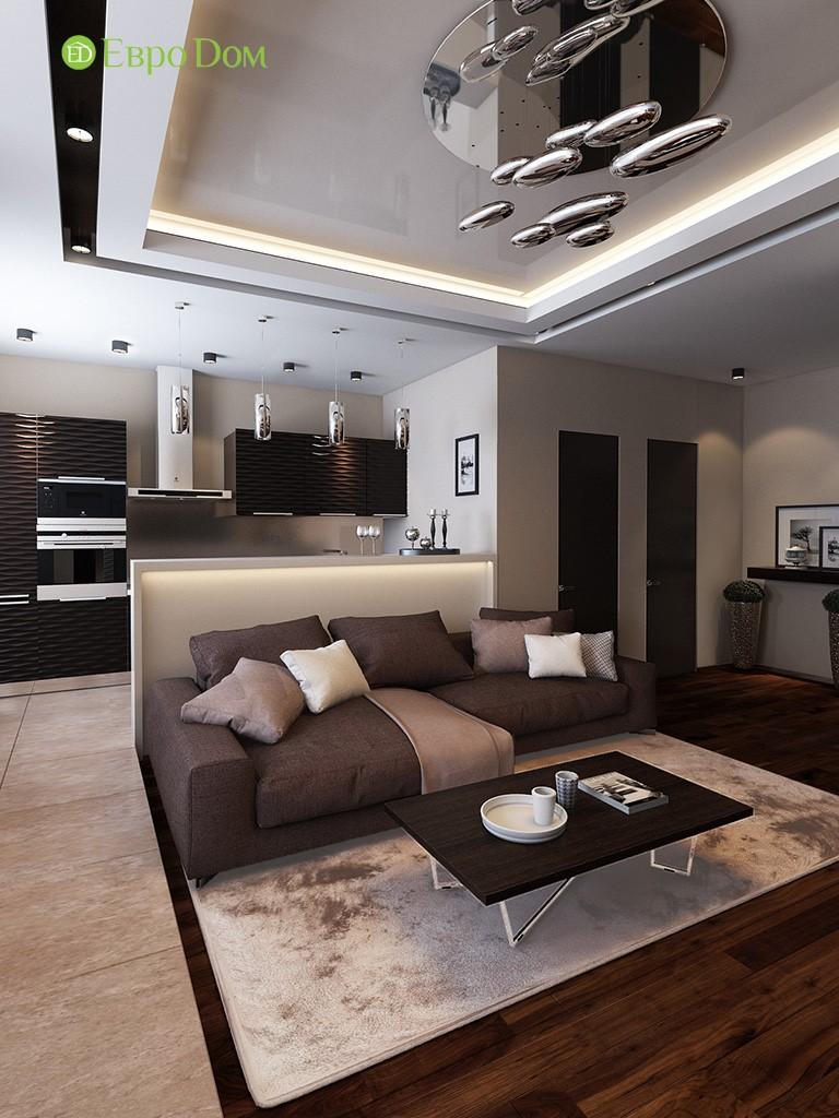 Кухня-гостиная-столовая трехкомнатной квартиры в современном стиле