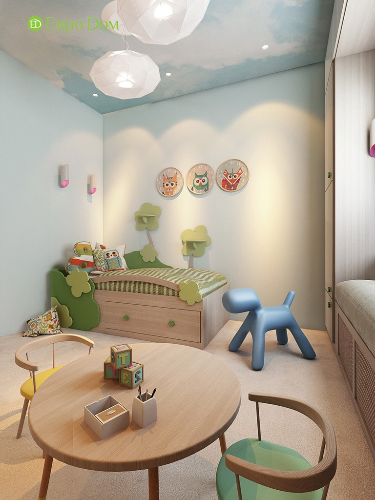 Интерьер современной детской в экостиле