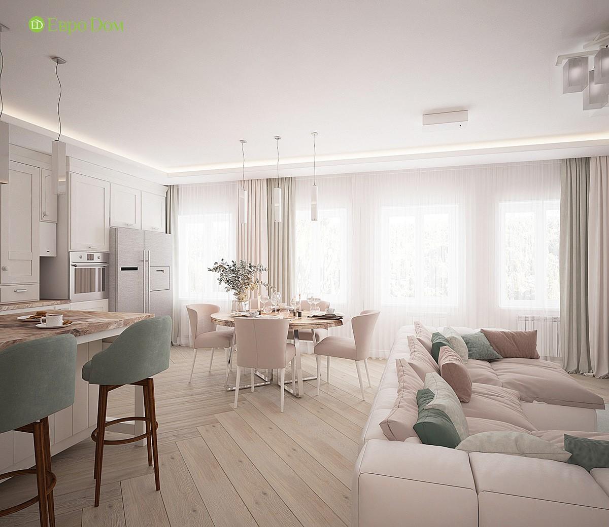 современный дизайн трехкомнатной квартиры с объединённой кухней-гостиной