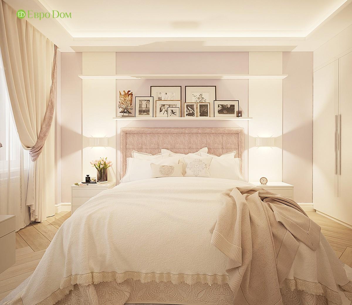 интерьер современной спальни в трехкомнатной квартире