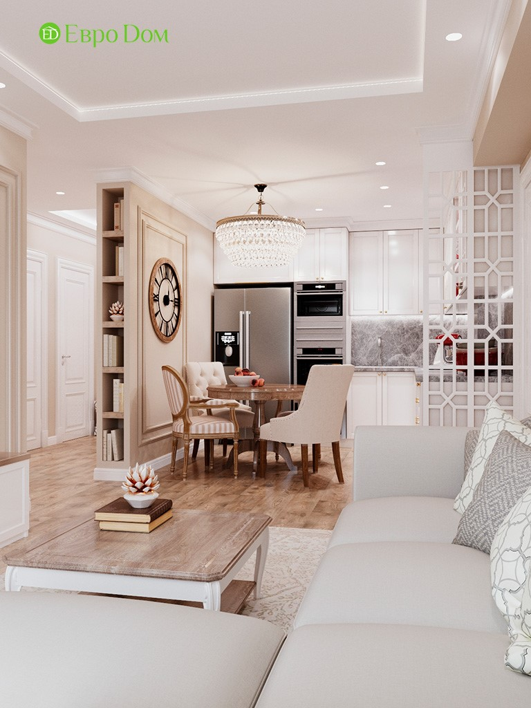 Дизайн 3-комнатной квартиры 80 кв. м. в ЖК «Лефортово»