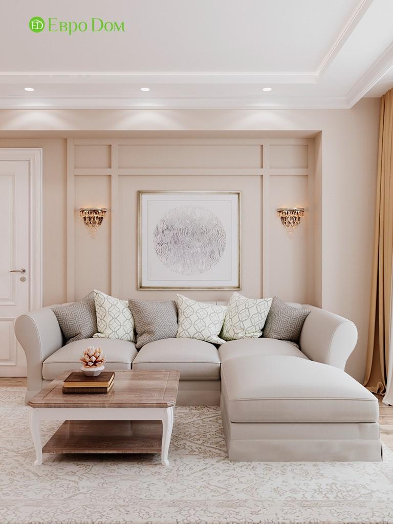 Дизайн гостиной 3-комнатной квартиры в светлых тонах
