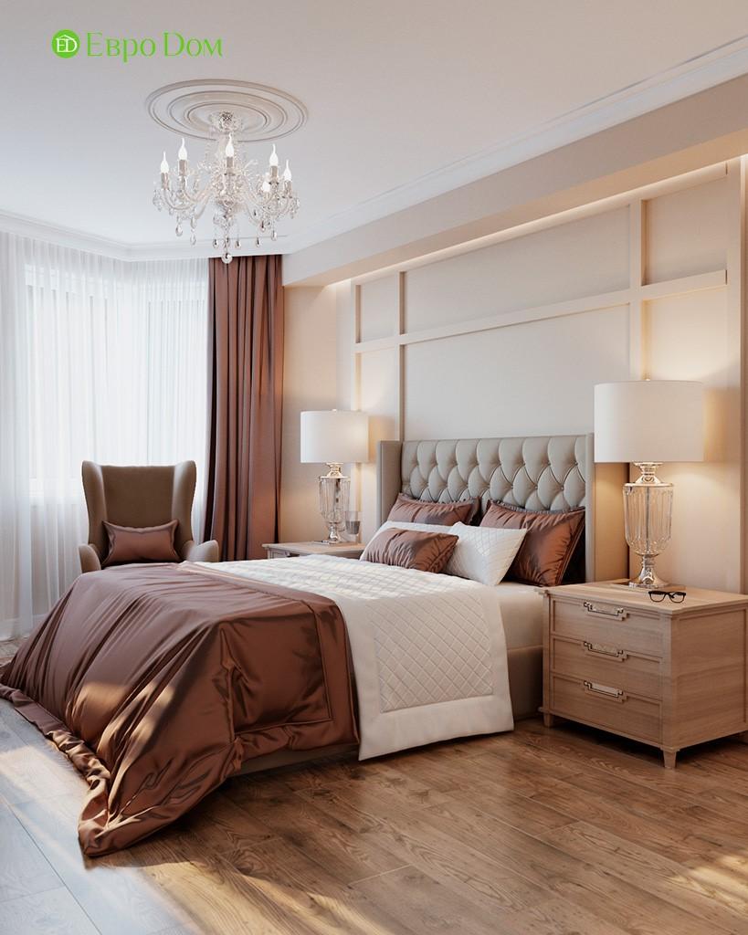 Дизайн спальни трехкомнатной квартиры в ЖК «Лефортово»