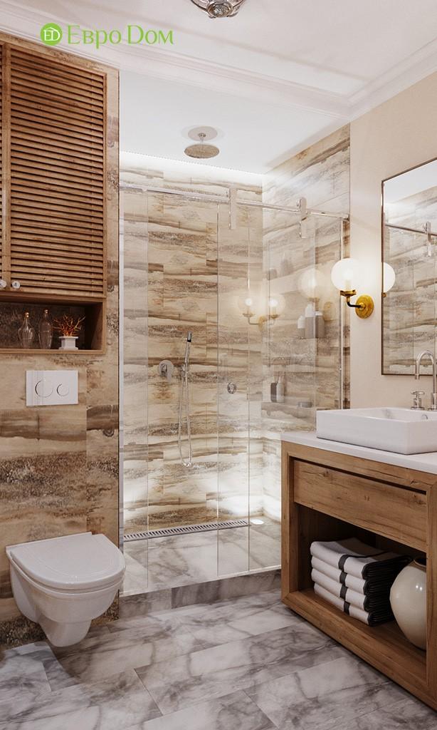 Дизайн санузла с душевой кабиной в 3-комнатной квартире