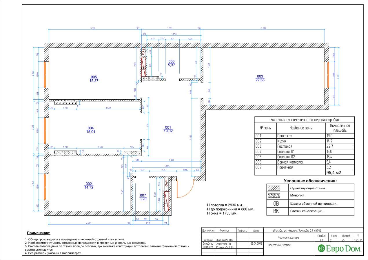 Чтобы разработать дизайн трехкомнатной квартиры в современном стиле, требуется обмерочный чертёж
