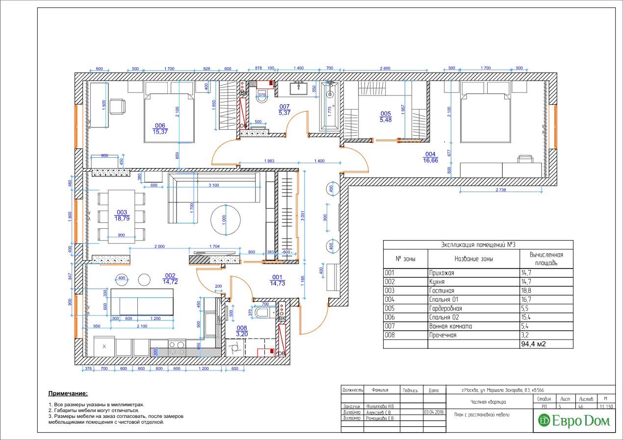 План трехкомнатной квартиры в современном стиле с мебелью