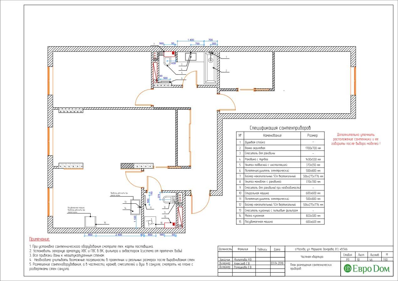 план сантехники в трехкомнатной квартире в современном стиле