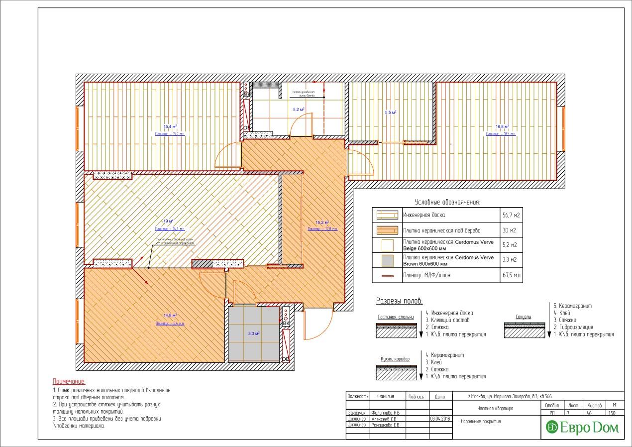 План пола и потолка трехкомнатной квартиры в современном стиле