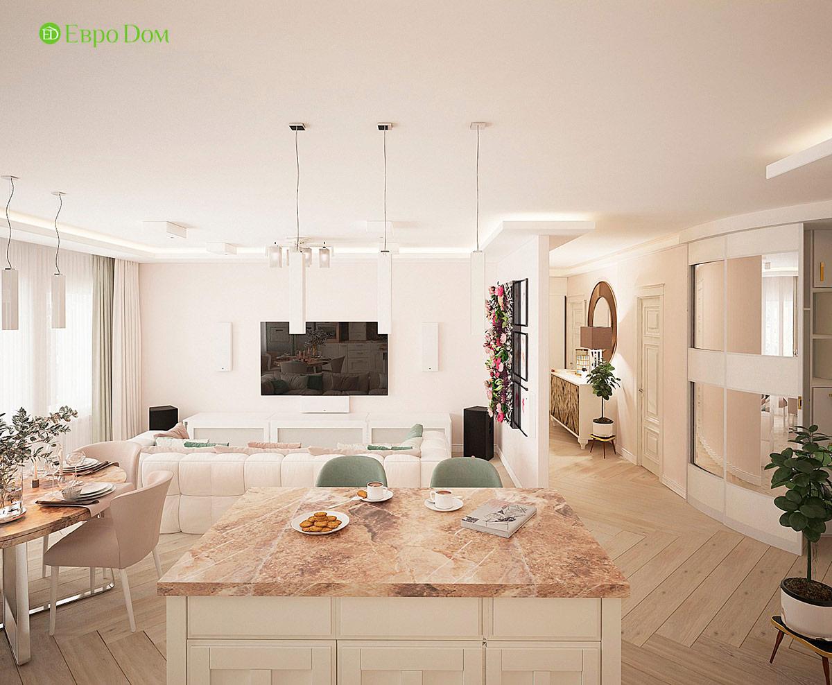 Кухня-гостиная трехкомнатной квартиры