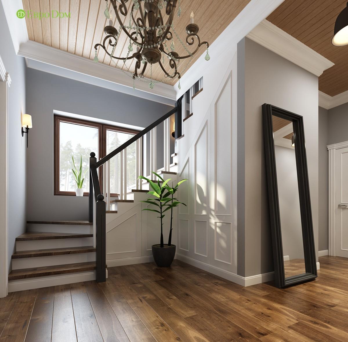 Лестничный холл в коттедже. Фото внутри