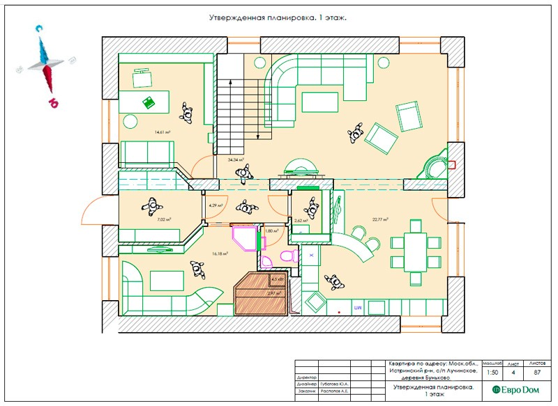 Дизайн частного дома эконом-класса. План расстановки мебели