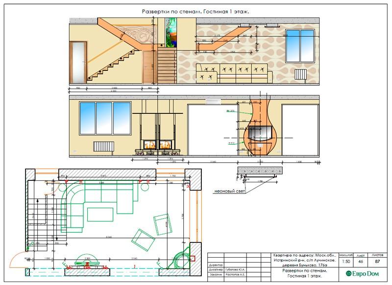 Дизайн-проект для ремонта частного дома внутри. Развертки стен.