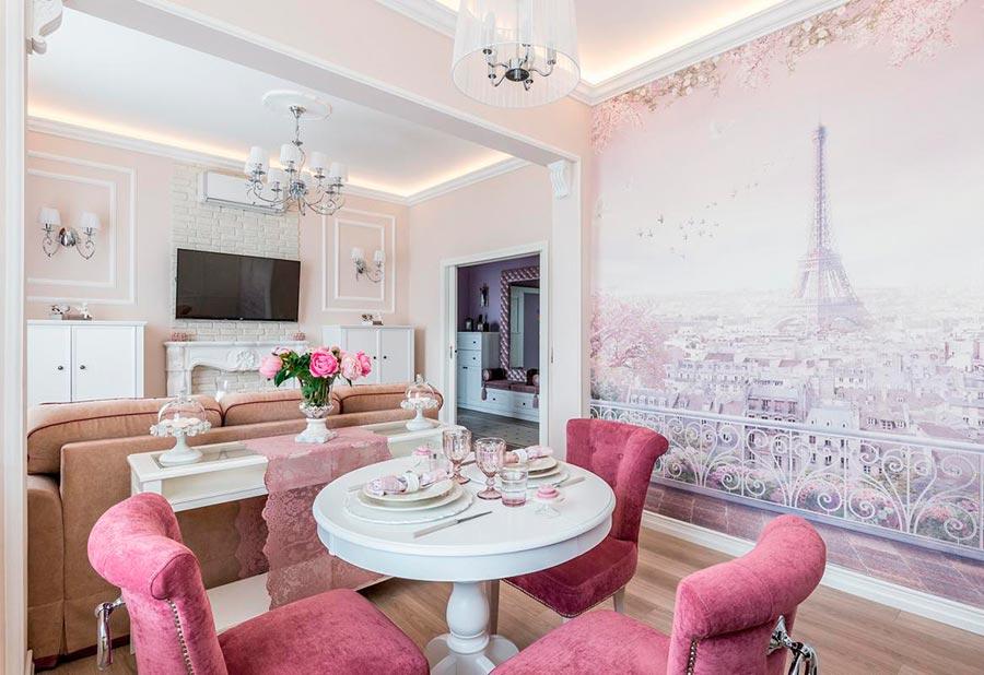 Розовая столовая и гостиная