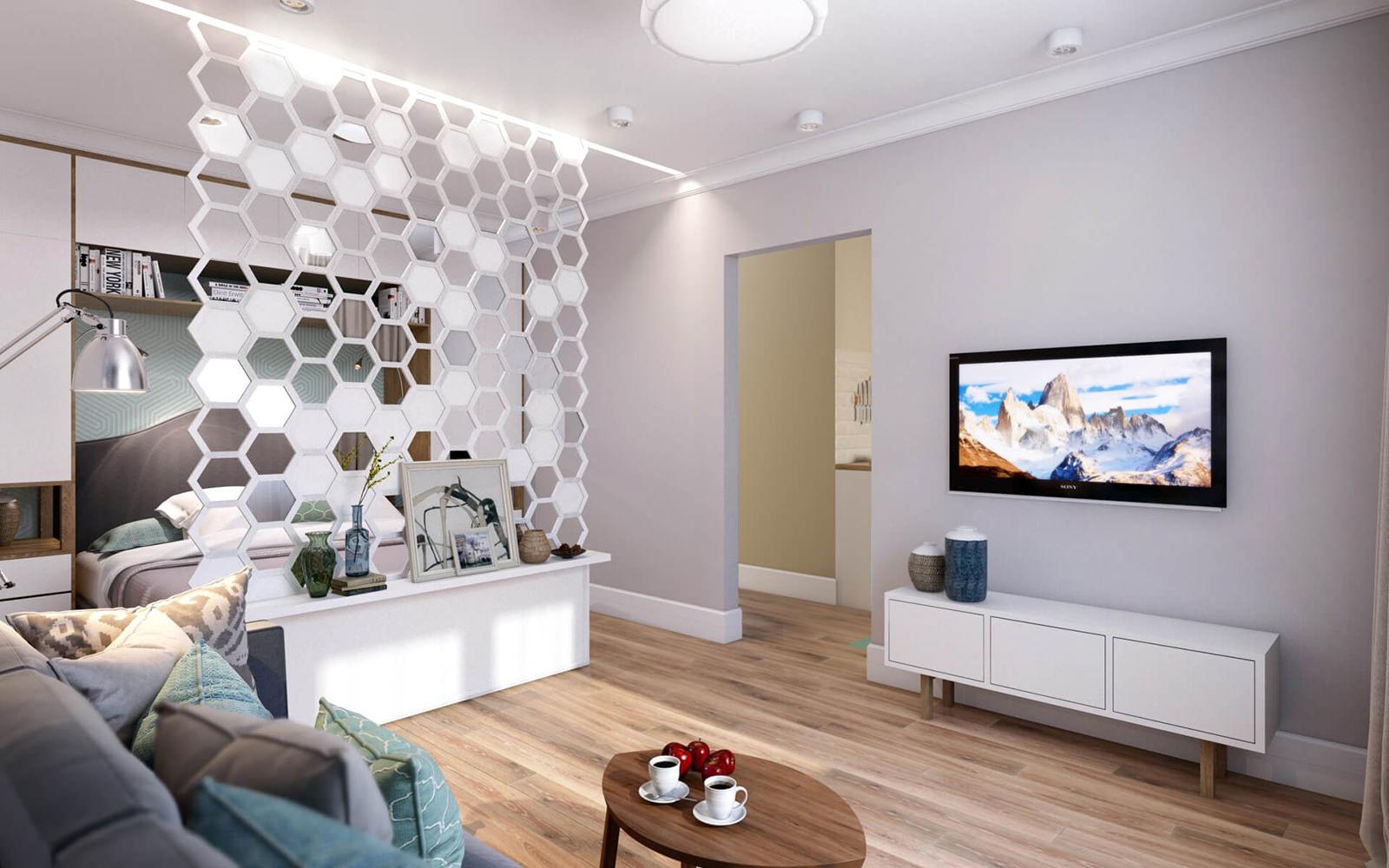Гостиная открытой планировки со спальней