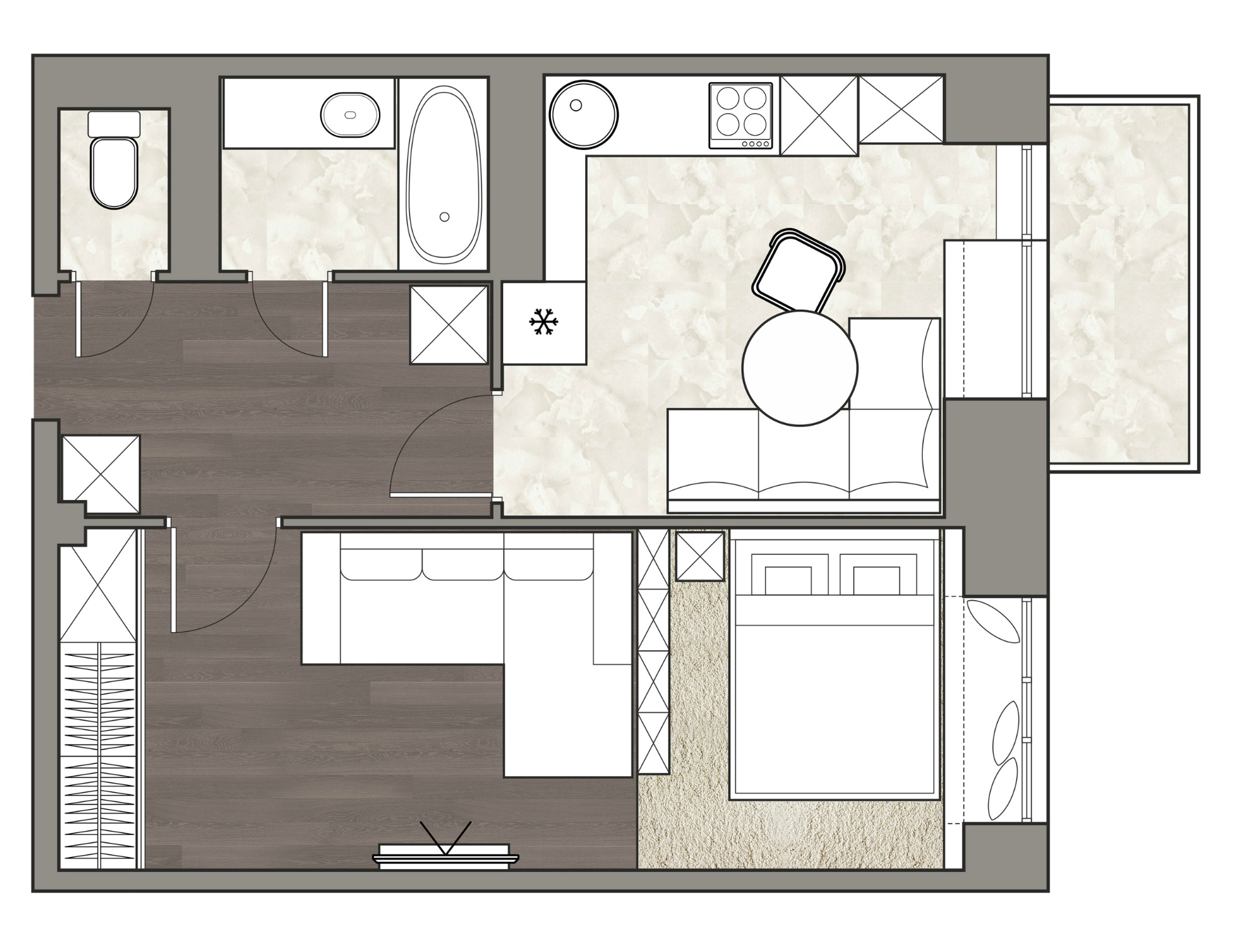 План квартиры 40 кв. метров