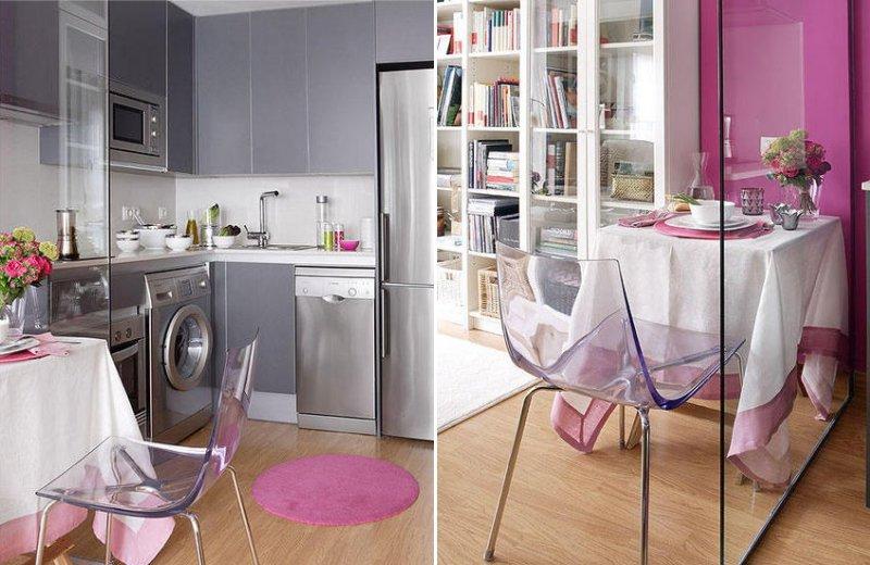 Кухня в нише в жилой комнате