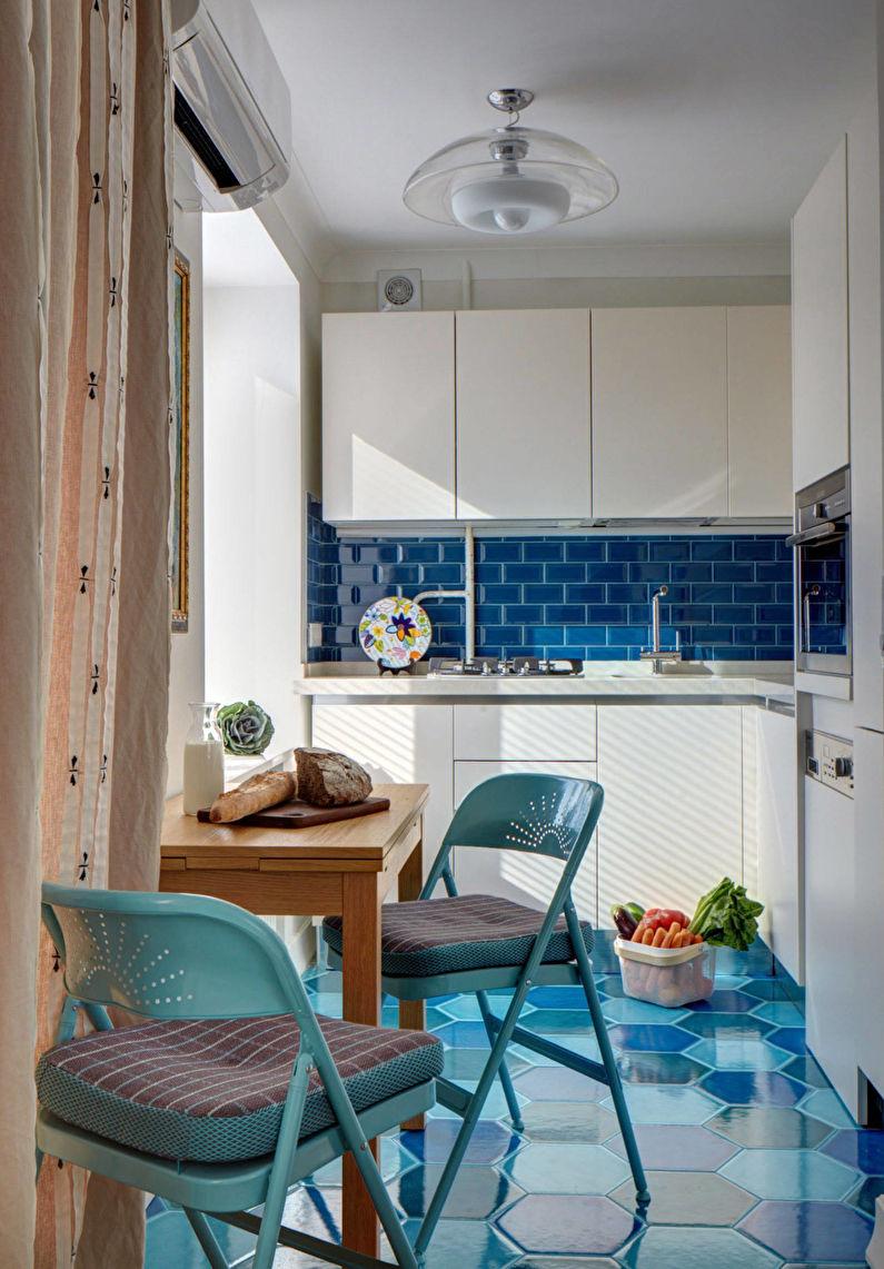 Дизайн белой кухни с акцентами