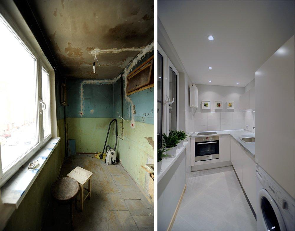 Ремонт кухни со встроенным гарнитуром в стиле минимализм