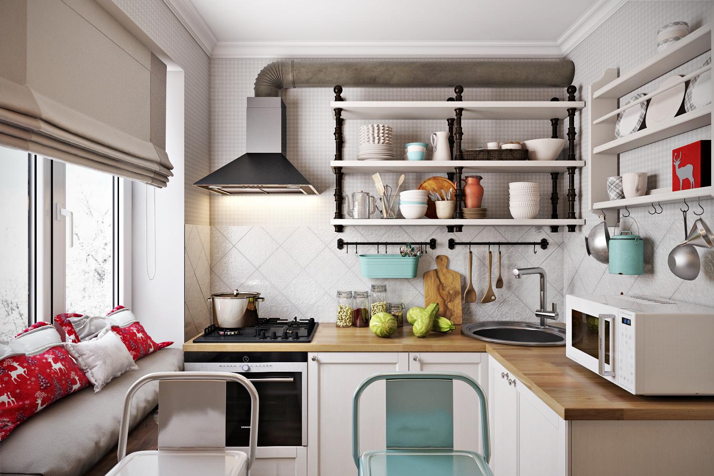 Кухня 4 кв. метра в скандинавском стиле