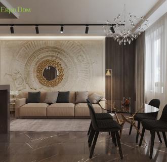 Дизайн двухкомнатной квартиры 64 кв. м в стиле ар-деко. Фото проекта