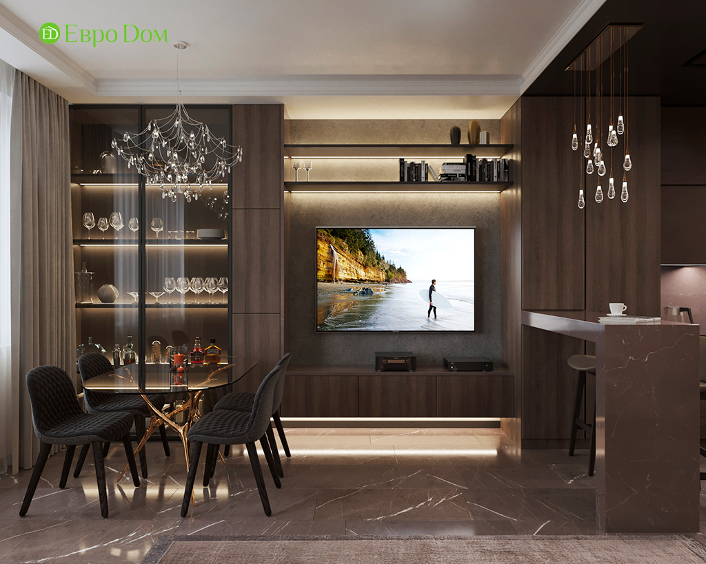 Дизайн 2-комнатной квартиры 64 кв. м в стиле ар-деко. Фото 08