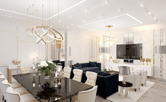 Дизайн интерьера четырехкомнатной квартиры