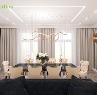 Дизайн четырехкомнатной квартиры 209 кв. м в стиле ар-деко. Фото проекта