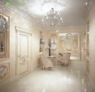 Дизайн интерьера коттеджа 251 кв. м в стиле барокко. Фото проекта