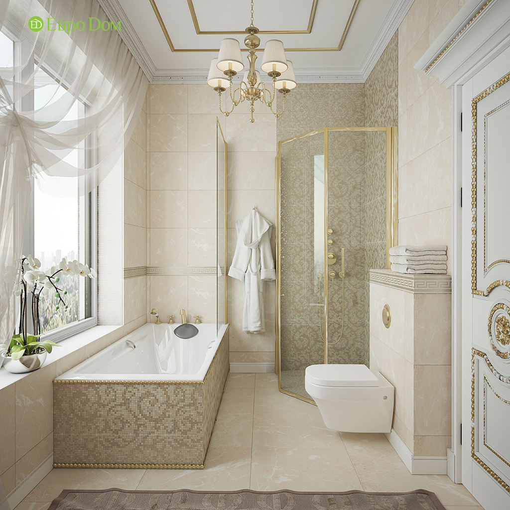 Дизайн интерьера коттеджа 251 кв. м в стиле барокко. Фото 027
