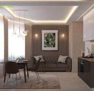 Дизайн однокомнатной квартиры 41 кв. м в современном стиле. Фото проекта