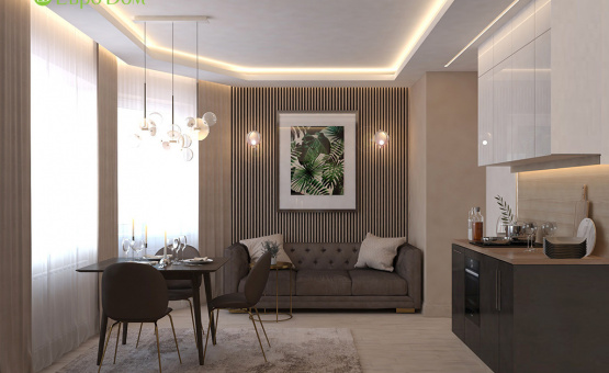Дизайн интерьера 1-комнатной квартиры 41 кв.м. по адресу г. Красногорск, ул. Истринская, 13А. Фото 3