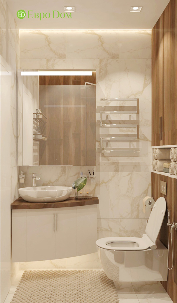 Дизайн 1-комнатной квартиры 41 кв. м в современном стиле. Фото 09