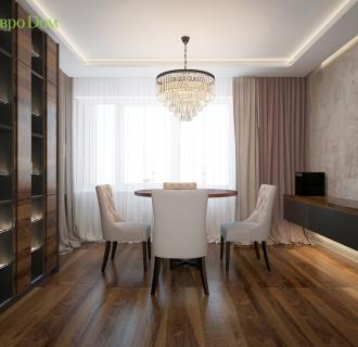 Дизайн двухкомнатной квартиры 93 кв. м в современном стиле. Фото проекта