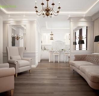 Дизайн двухкомнатной квартиры 65 кв. м в стиле неоклассика. Фото проекта